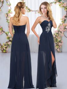 Great Navy Blue Chiffon Lace Up Damas Dress Sleeveless Floor Length Beading and Ruffles