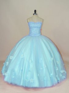 Suitable Aqua Blue Lace Up Ball Gown Prom Dress Beading and Hand Made Flower Sleeveless Floor Length