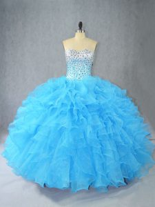 Cute Aqua Blue Lace Up Sweetheart Beading and Ruffles 15 Quinceanera Dress Organza Sleeveless