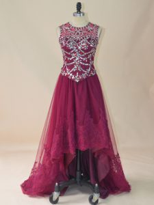 Sleeveless High Low Beading and Lace Lace Up Juniors Evening Dress with Burgundy