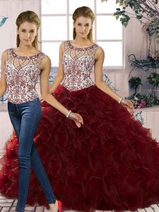 On Sale Organza Scoop Sleeveless Lace Up Beading and Ruffles Ball Gown Prom Dress in Burgundy