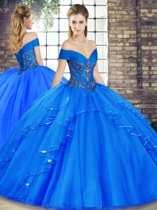 Exceptional Floor Length Lace Up 15th Birthday Dress Royal Blue for Military Ball and Sweet 16 and Quinceanera with Beading and Ruffles