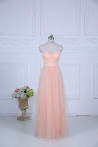 Tulle Sweetheart Sleeveless Zipper Ruching Dama Dress for Quinceanera in Peach