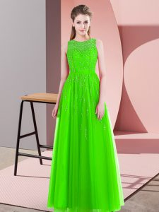 Unique Sleeveless Floor Length Beading Side Zipper Prom Evening Gown with