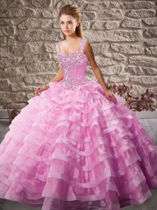 Pink Sleeveless Floor Length Beading and Ruffled Layers Lace Up Quinceanera Dress