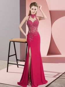 Free and Easy Hot Pink Sleeveless Floor Length Beading Backless Evening Gowns