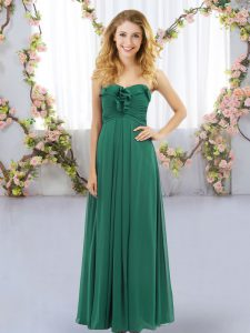 Fantastic Dark Green Dama Dress for Quinceanera Wedding Party with Ruffles Sweetheart Sleeveless Lace Up