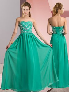 Turquoise Chiffon Lace Up Sweetheart Sleeveless Floor Length Beading