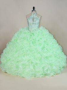 Sweet Yellow Green Ball Gowns Beading and Ruffles Quinceanera Dresses Lace Up Fabric With Rolling Flowers Sleeveless