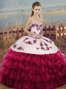 Fashion White And Red Organza Lace Up Vestidos de Quinceanera Sleeveless Floor Length Embroidery and Ruffled Layers and Bowknot