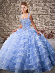 New Style Straps Sleeveless Quinceanera Gown Court Train Beading and Ruffled Layers Lavender Organza