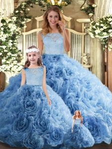 Charming Baby Blue Ball Gowns Lace Ball Gown Prom Dress Zipper Fabric With Rolling Flowers Sleeveless Floor Length