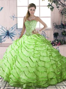 Yellow Green Ball Gowns Organza Sweetheart Sleeveless Ruffled Layers Lace Up Sweet 16 Quinceanera Dress Brush Train