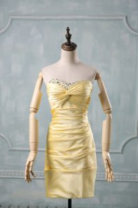 Best Selling Sweetheart Sleeveless Prom Dresses Mini Length Beading and Ruching Yellow Taffeta