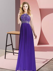 Modest Empire Prom Dresses Purple Scoop Chiffon Sleeveless Floor Length Backless