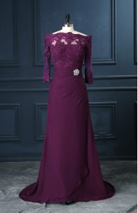 Free and Easy Purple Formal Dresses Scalloped Sleeveless Brush Train Zipper