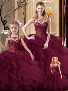 Burgundy Sleeveless Beading and Ruffles Lace Up Quinceanera Dresses
