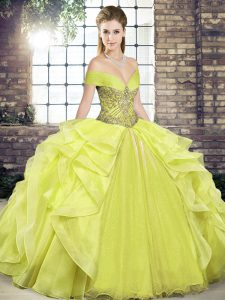 Yellow Sleeveless Floor Length Beading and Ruffles Lace Up Quinceanera Dress