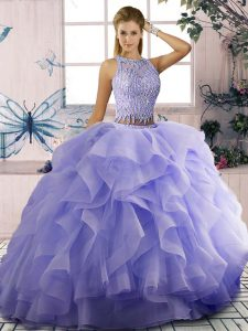 Superior Lavender Sleeveless Beading and Ruffles Zipper 15th Birthday Dress