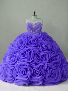 Lavender Sweetheart Lace Up Beading Quinceanera Gowns Brush Train Sleeveless