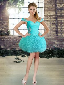 Admirable Aqua Blue Sleeveless Fabric With Rolling Flowers Lace Up Dress for Prom for Prom and Party