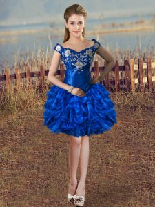 Royal Blue Ball Gowns Off The Shoulder Sleeveless Organza Knee Length Lace Up Embroidery and Ruffles Evening Dress