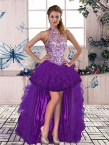 Modest Purple A-line Tulle Halter Top Sleeveless Beading and Ruffles High Low Lace Up Formal Dresses