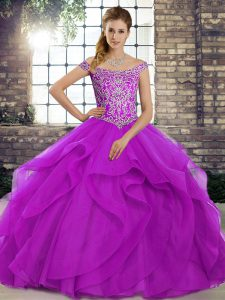 Beading and Ruffles Vestidos de Quinceanera Purple Lace Up Sleeveless Brush Train