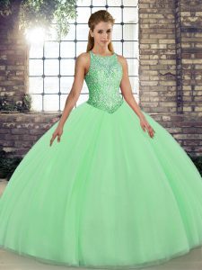 Colorful Tulle Scoop Sleeveless Lace Up Embroidery Sweet 16 Dress in Green