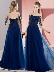 Navy Blue Dama Dress Wedding Party with Beading and Lace Bateau Half Sleeves Lace Up