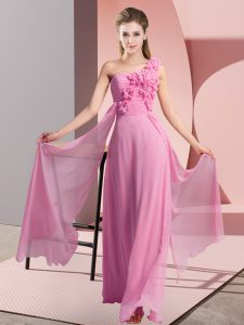 Excellent Floor Length Rose Pink Dama Dress for Quinceanera Chiffon Sleeveless Hand Made Flower