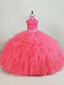 Pink Tulle Lace Up Sweet 16 Dress Sleeveless Beading and Ruffles