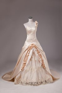 Satin One Shoulder Sleeveless Brush Train Lace Up Embroidery and Hand Made Flower Sweet 16 Dresses in Champagne
