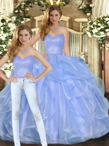 Great Lavender Sleeveless Floor Length Ruffles Lace Up Quinceanera Gown