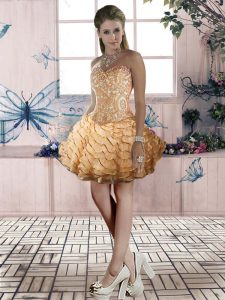 Gold Ball Gowns Beading and Lace and Ruffled Layers Evening Dress Lace Up Organza Sleeveless Mini Length