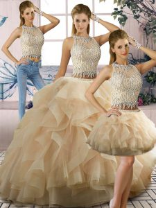 Fantastic Two Pieces Sweet 16 Quinceanera Dress Champagne Scoop Tulle Sleeveless Floor Length Zipper