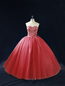 Custom Fit Red Lace Up Quinceanera Dress Beading Sleeveless