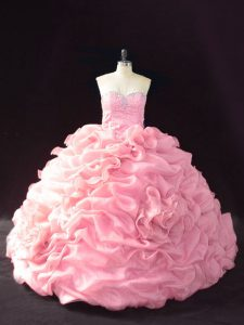Colorful Organza Sleeveless Vestidos de Quinceanera Court Train and Beading and Pick Ups and Hand Made Flower