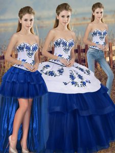 Dramatic Floor Length Royal Blue Quinceanera Dress Sweetheart Sleeveless Lace Up