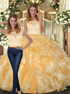 Exceptional Organza Scoop Sleeveless Clasp Handle Lace and Ruffles Vestidos de Quinceanera in Gold