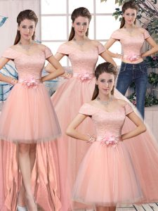 Pink Ball Gowns Off The Shoulder Short Sleeves Tulle Floor Length Lace Up Lace and Hand Made Flower 15th Birthday Dress