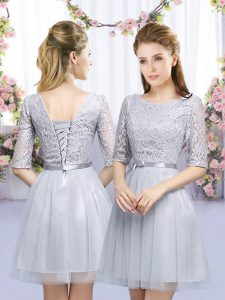 Empire Quinceanera Dama Dress Grey Scoop Tulle Half Sleeves Mini Length Lace Up