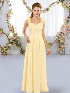 Yellow Dama Dress Wedding Party with Hand Made Flower Straps Sleeveless Lace Up