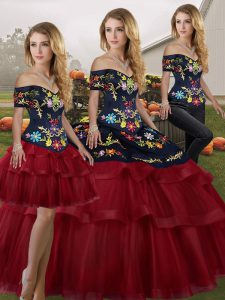 Fantastic Brush Train Three Pieces Sweet 16 Quinceanera Dress Wine Red Off The Shoulder Tulle Sleeveless Lace Up