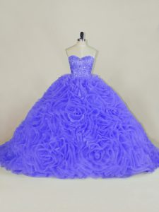 Cute Sweetheart Sleeveless Quince Ball Gowns Brush Train Beading and Ruffles Purple Organza and Fabric With Rolling Flowers