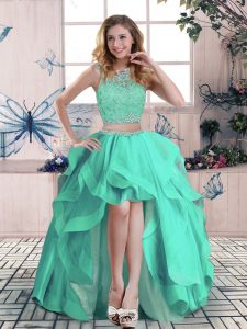 Turquoise Two Pieces Beading and Lace and Ruffles Zipper Tulle Sleeveless High Low