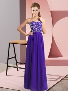 Customized Sweetheart Sleeveless Evening Outfits Floor Length Beading Purple Chiffon