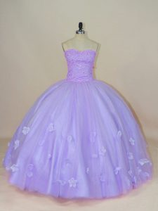 High Class Sleeveless Floor Length Beading and Hand Made Flower Backless Vestidos de Quinceanera with Lavender