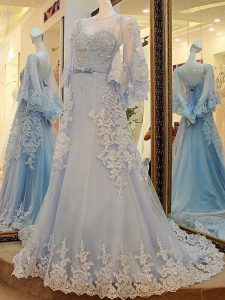 Light Blue Long Sleeves Court Train Lace and Appliques and Belt Evening Wear