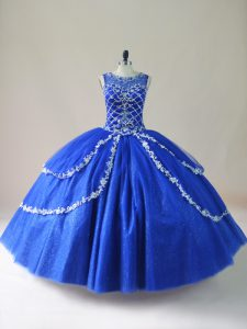 Fantastic Beading Quinceanera Gown Royal Blue Zipper Sleeveless Floor Length